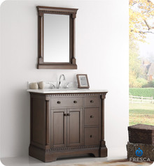 "Fresca  FVN2236AC Kingston 36"" Antique Coffee Traditional Bathroom Vanity w/ Mirror"