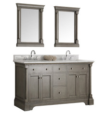 """Fresca  FVN2260SA Kingston 60"""" Antique Silver Double Sink Traditional Bathroom Vanity w/ Mirrors"""