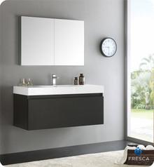 "Fresca  FVN8011BW Mezzo 48"" Black Wall Hung Modern Bathroom Vanity w/ Medicine Cabinet"