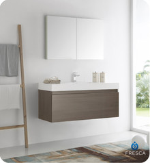 "Fresca  FVN8011GO Mezzo 48"" Gray Oak Wall Hung Modern Bathroom Vanity w/ Medicine Cabinet"