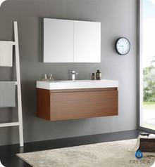 "Fresca  FVN8011TK Mezzo 48"" Teak Wall Hung Modern Bathroom Vanity w/ Medicine Cabinet"