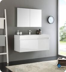 "Fresca  FVN8011WH Mezzo 48"" White Wall Hung Modern Bathroom Vanity w/ Medicine Cabinet"