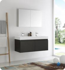 "Fresca  FVN8012BW Mezzo 48"" Black Wall Hung Double Sink Modern Bathroom Vanity w/ Medicine Cabinet"