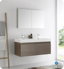 "Fresca  FVN8012GO Mezzo 48"" Gray Oak Wall Hung Double Sink Modern Bathroom Vanity w/ Medicine Cabinet"