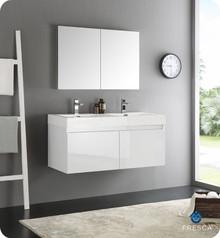 "Fresca  FVN8012WH Mezzo 48"" White Wall Hung Double Sink Modern Bathroom Vanity w/ Medicine Cabinet"