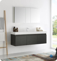 "Fresca  FVN8041BW Mezzo 60"" Black Wall Hung Single Sink Modern Bathroom Vanity w/ Medicine Cabinet"
