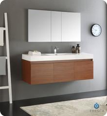 "Fresca  FVN8041TK Mezzo 60"" Teak Wall Hung Single Sink Modern Bathroom Vanity w/ Medicine Cabinet"