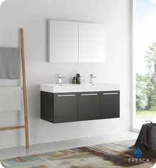 "Fresca  FVN8092BW-D Vista 48"" Black Wall Hung Double Sink Modern Bathroom Vanity w/ Medicine Cabinet"