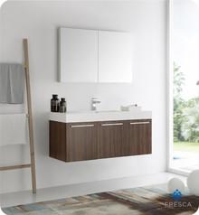 """Fresca  FVN8092GW Vista 48"""" Walnut Wall Hung Modern Bathroom Vanity w/ Medicine Cabinet"""
