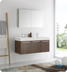"""Fresca  FVN8092GW-D Vista 48"""" Walnut Wall Hung Double Sink Modern Bathroom Vanity w/ Medicine Cabinet"""