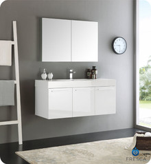 "Fresca  FVN8092WH Vista 48"" White Wall Hung Modern Bathroom Vanity w/ Medicine Cabinet"