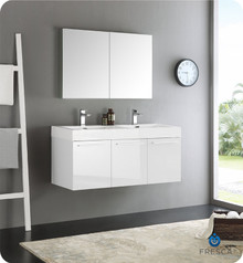"Fresca  FVN8092WH-D Vista 48"" White Wall Hung Double Sink Modern Bathroom Vanity w/ Medicine Cabinet"