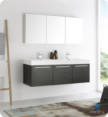 "Fresca  FVN8093BW-D Vista 60"" Black Wall Hung Double Sink Modern Bathroom Vanity w/ Medicine Cabinet"