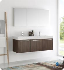 """Fresca  FVN8093GW-D Vista 60"""" Walnut Wall Hung Double Sink Modern Bathroom Vanity w/ Medicine Cabinet"""
