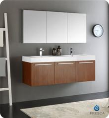 "Fresca  FVN8093TK-D Vista 60"" Teak Wall Hung Double Sink Modern Bathroom Vanity w/ Medicine Cabinet"