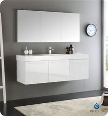 "Fresca  FVN8093WH Vista 60"" White Wall Hung Single Sink Modern Bathroom Vanity w/ Medicine Cabinet"