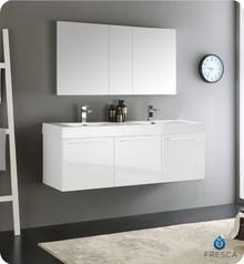 "Fresca  FVN8093WH-D Vista 60"" White Wall Hung Double Sink Modern Bathroom Vanity w/ Medicine Cabinet"