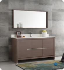 "Fresca  FVN8119GO-S Allier 60"" Gray Oak Modern Single Sink Bathroom Vanity w/ Mirror"