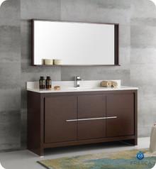 """Fresca  FVN8119WG-S Allier 60"""" Wenge Brown Modern Single Sink Bathroom Vanity w/ Mirror"""