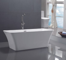 "Vanity Art VA6820 67"" Freestanding White Acrylic Bathtub"