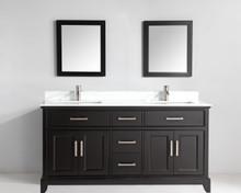 Vanity Art VA1072DE 72 Inch Double Sink Vanity Cabinet with Phoenix Stone Sink & Mirror - Espresso