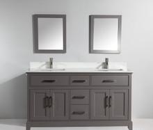 Vanity Art VA1072DG 72 Inch Double Sink Vanity Cabinet with Phoenix Stone Sink & Mirror - Grey