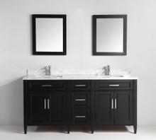 Vanity Art VA2072DE 72 Inch Double Sink Vanity Cabinet with Carrara Marble Vanity Top - Espresso