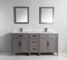 Vanity Art VA2072DG 72 Inch Double Sink Vanity Cabinet with Carrara Marble Vanity Top - Grey