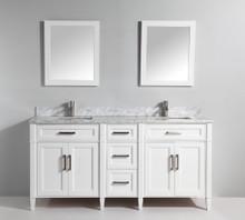 Vanity Art VA2072DW 72 Inch Double Sink Vanity Cabinet with Carrara Marble Vanity Top - White