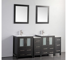 Vanity Art VA3024-72E 72 Inch Double Sink Vanity Cabinet with Ceramic Sink & Mirror - Espresso