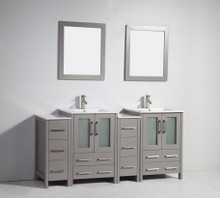Vanity Art VA3024-72G 72 Inch Double Sink Vanity Cabinet with Ceramic Sink & Mirror - Grey