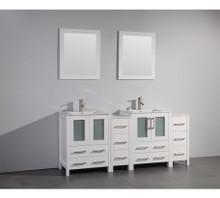 Vanity Art VA3024-72W 72 Inch Double Sink Vanity Cabinet with Ceramic Sink & Mirror - White