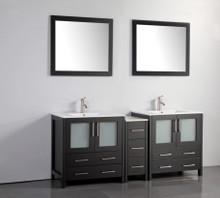 Vanity Art VA3030-72E 72 Inch Double Sink Vanity Cabinet with Ceramic Sink & Mirror - Espresso