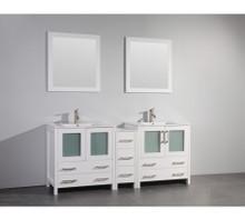 Vanity Art VA3030-72W 72 Inch Double Sink Vanity Cabinet with Ceramic Sink & Mirror - White