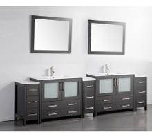 Vanity Art 108 Inch Double Sink Bathroom Vanity Cabinet with Two Sinks & Two Mirror - Espresso