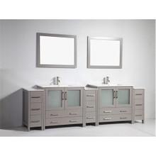 Vanity Art 108 Inch Double Sink Bathroom Vanity Cabinet with Two Sinks & Two Mirror - Grey