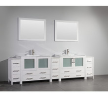 Vanity Art 108 Inch Double Sink Bathroom Vanity Cabinet with Two Sinks & Two Mirror - White