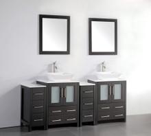 Vanity Art VA3124-72E 72 Inch Double Sink Vanity Cabinet with Ceramic Vessel Sink & Mirror - Espresso