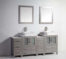 Vanity Art VA3124-72G 72 Inch Double Sink Vanity Cabinet with Ceramic Vessel Sink & Mirror - Grey