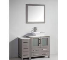 Vanity Art VA3130-42G 42 Inch Vanity Cabinet with Ceramic Vessel Sink & Mirror - Grey