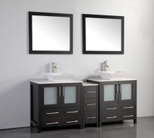 Vanity Art VA3130-72E 72 Inch Double Sink Vanity Cabinet with Ceramic Vessel Sink & Mirror - Espresso