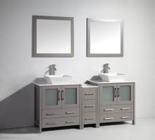 Vanity Art VA3130-72G 72 Inch Double Sink Vanity Cabinet with Ceramic Vessel Sink & Mirror - Grey