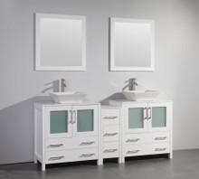 Vanity Art VA3130-72W 72 Inch Double Sink Vanity Cabinet with Ceramic Vessel Sink & Mirror - White