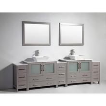 Vanity Art 108 Inch Double Sink Bathroom Vanity Cabinet with Two Sinks & Two Mirror - Grey VA3136-108G