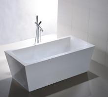 "Vanity Art VA6814 59"" Bathroom Freestanding Acrylic Soaking Bathtub - White"