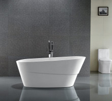 "Vanity Art VA6521 67"" Bathroom Freestanding Acrylic Soaking Bathtub - White"