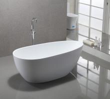 "Vanity Art VA6515 59"" Bathroom Freestanding Acrylic Soaking Bathtub - White"