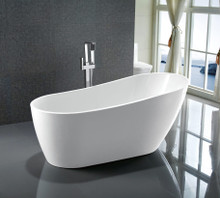 "Vanity Art VA6522 67"" Bathroom Freestanding Acrylic Soaking Bathtub - White"