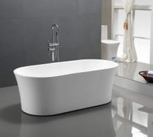 "Vanity Art VA6809 63"" Bathroom Freestanding Acrylic Soaking Bathtub - White"
