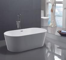 "Vanity Art VA6815 59"" Bathroom Freestanding Acrylic Soaking Bathtub - White"